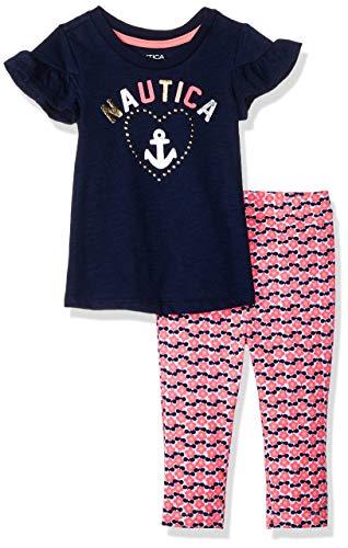 Nautica Sets (KHQ) Baby Girls 2 Pieces Pants Set, Peacoat/Print 24M