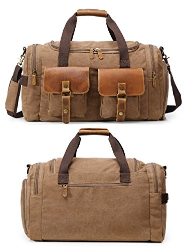 Canvas Duffle Bag Overnight Bags for Men Weekend Travel Duffel Weekender Bags for Women Canvas Leather Gym Travel Shoulder Tote Carry On Luggage Large with Shoes Compartment, College Student Gift by Kemy's (Image #2)