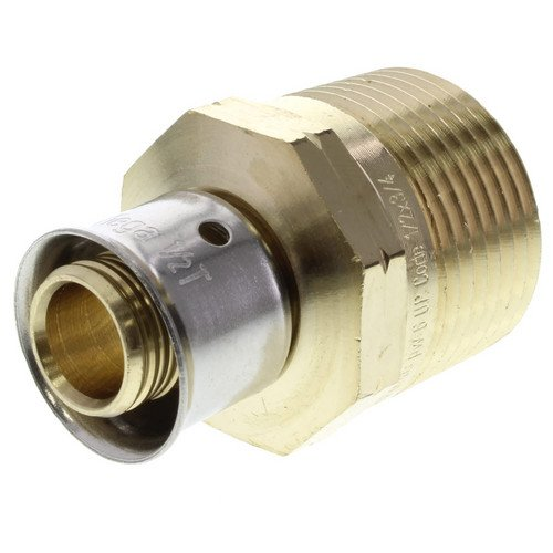 Zero Lead Bronze 1/2inch PEX Press x 3/4inch M NPT Adapter whit Attached Sleeve
