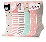 Color City Kids Girls Socks Knee High Stockings Cartoon Animal Theme Cotton Socks (6 Pairs)