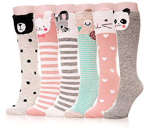Color City Girls Socks Knee High Stockings Cartoon Animal Warm Cotton Socks 6 Pairs Animal
