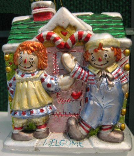 Raggedy Ann & Andy Gingerbread House Hand-crafted Glass Christmas Ornament by Kurt Adler