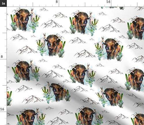 """Bohemian Bison Fabric - 8"""" Aztec Boho Buffalo Southwest Watercolor Cactus Woodland Nursery Baby Decor Print on Fabric by the Yard - Fleece for Sewing Blankets Loungewear and No-Sew Projects"""