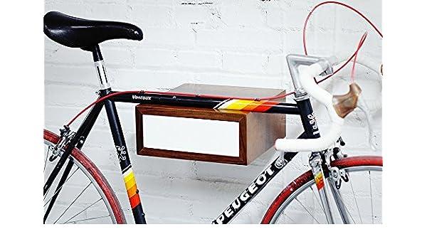 Soporte para bicicleta en madera de nogal maciza con cajón lacado ...