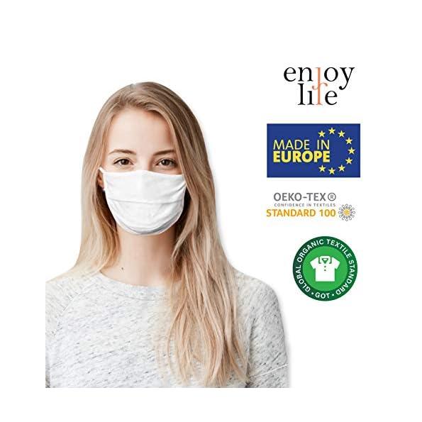Enjoy-Life-2-x-Pack-von-der-Gesicht-Abdeckung-waschbar-Mundschutz-aus-99-Bio-Baumwolle-fr-Mund-Nase-in-wei-fr-Erwachsene-Handmade-Produkt-und-Wiederverwendbare-Mund-Abdeckung
