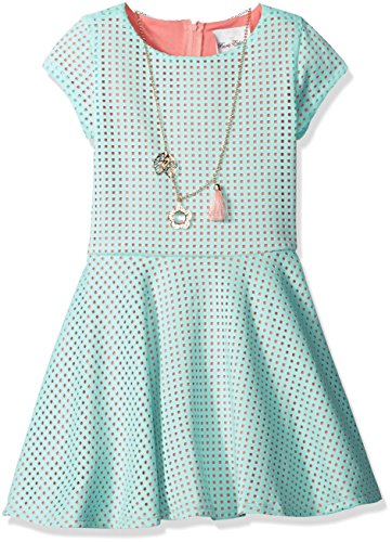 Price comparison product image Rare Editions Big Girls' Laser Cut Casual Skater Dress, Mint, 12