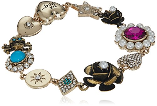 Betsey Johnson Heart Charm Bracelet Jewelry - Betsey Johnson Mystic Baroque Queens Multi-Charm Gold Link Bracelet