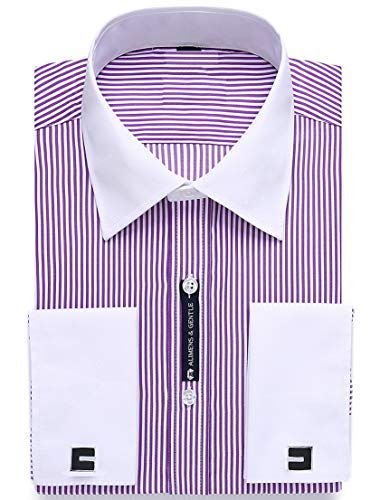 Alimens & Gentle French Cuff Regular Fit Dress Shirts (Cufflink Included) (14.5