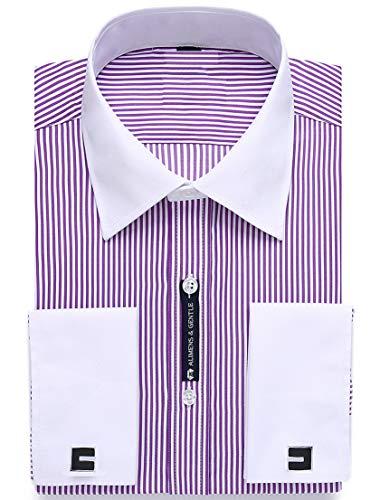 "Alimens & Gentle French Cuff Regular Fit Dress Shirts (Cufflink Included) (16"" Neck - 32""/33"" Sleeve, Stripe Purple)"