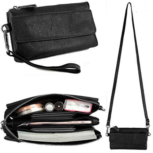 YALUXE Women's Leather Smartphone Wristlet Crossbody Clutch with RFID Blocking Card Slots...