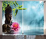 Ambesonne Zen Meditation Decor Collection, Water Lily Flowers Spa Nature and Feng Shui Calm Water Picture Pattern, Window Treatments, Living Kids Girls Room Curtain Set, 108 X 90 Inches, Sky Blue Pink