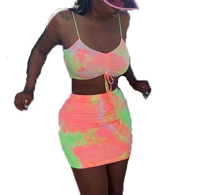Women Sport Yoga Vest Skirt Set Boho Mini Skirts Crop Tops ...