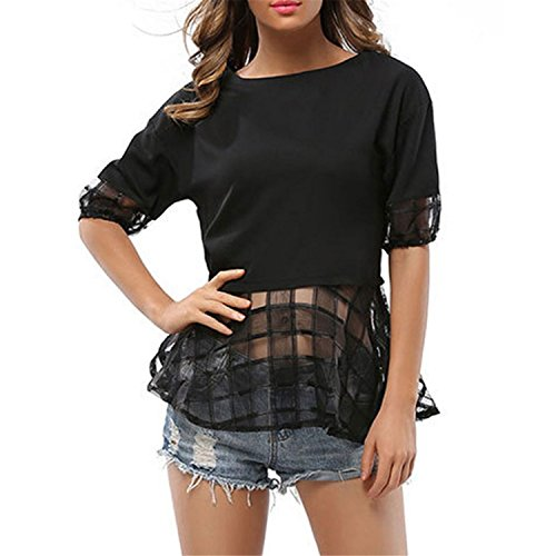 Chiffon Blouse Femme Shirt Women Tops Summer Lace Patchwork Short Sleeve Top at Amazon Womens Clothing store: