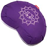 Peace Yoga Zafu Meditation Buckwheat Filled Crescent Cotton Bolster Pillow Cushion – Purple