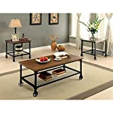 HOMES: Inside + Out Racquel Industrial 3 Piece Coffee and End Table Set, Medium Oak Review