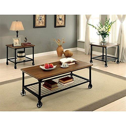 HOMES: Inside + Out IDF-4803-3PK Racquel Industrial Coffee End Table, Medium Oak