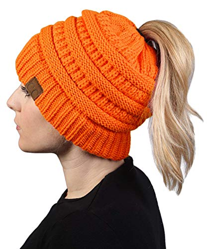Orange Womens Beanie - BT-6020a-56 Messy Bun Womens Winter Knit Hat Beanie Tail - Neon Orange