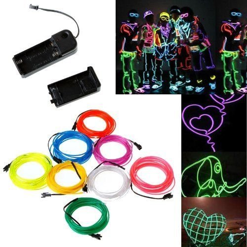 amazon com h1 3m white neon light el wire rope tube with controller