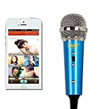 Mini Microphone,Megadream Portable Home Studio Condenser Wired Microphone with Desktop Stand and 3.5mm Headphone Splitter Adapter for Telephone/Singing/Vocal/Skype/K Sing Voip/Karaoke-Blue