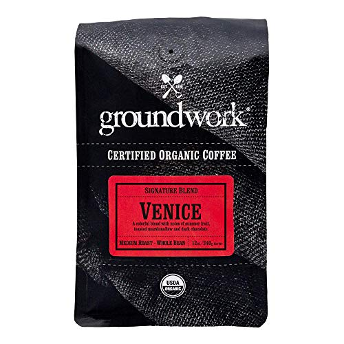 Groundwork Organic Whole Bean Medium Roast Coffee, Venice Blend, 12 Ounce Bag