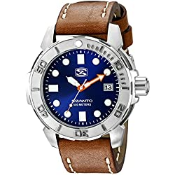 Szanto Men's SZ 5103 Deep Dive Analog Display Japanese Quartz Brown Watch