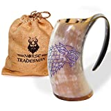 "Norse Tradesman Genuine Viking Drinking Horn Mug Tankard w/ Game of Thrones Direwolf Engraving | 24 Ounces | The ""Fenrir"""
