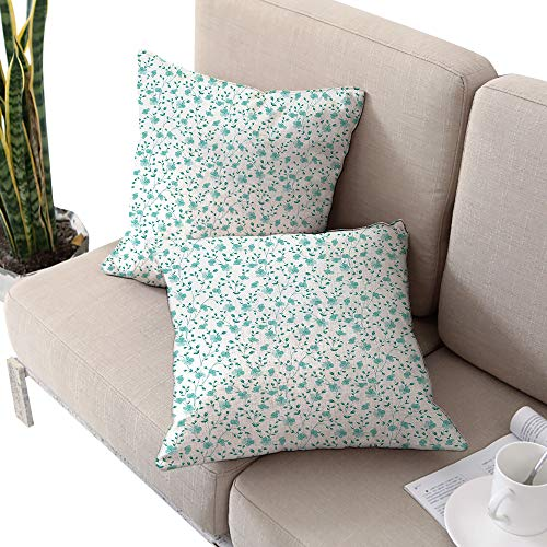 - Flower Square chaise lounge cushion cover ,Pattern with Flower Stems Blooming Springtime Simple Design Art Print Pale Blue Teal White W24