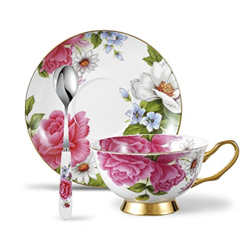 Panbado 3 Piece Bone China Tea Cup and Saucer Set with Spoon Porcelain Gold Rimmed Coffee Teacup, Service for 1, 200 ml/6.8 oz, Pink Rose, Cup & Saucer ()