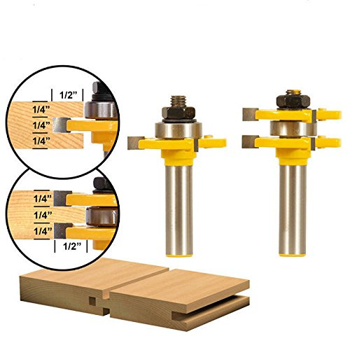 Beading Groove Router Bit (Wolfride 2Pcs Tongue and Groove Router Bit, T Shape Wood Milling Saw Cutter New Grooving Router Bit Woodworking Tools with 3 Teeth 1/2 inch Shank)