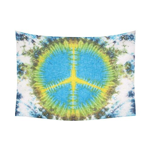 Custom Fabric Peace Sign Tie Dye Tapestry Wall Hanging Abstract Sign Wall Decor Art for Living Room Bedroom Dorm Decoration 80x60 Inches for $<!--$25.99-->