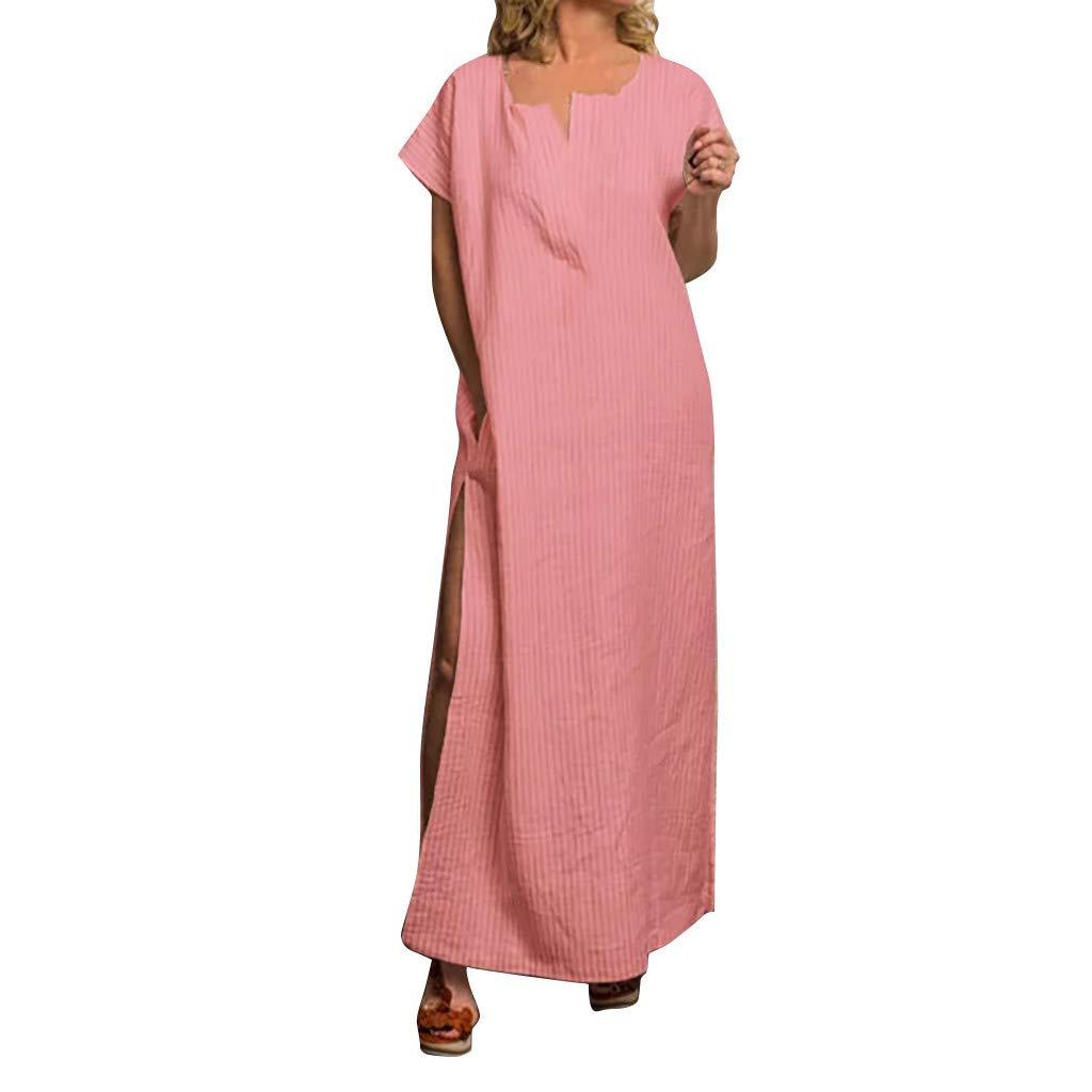 Goddessvan Fashion Dress Women O-Neck Solid Pocket Short Sleeve Easy Long Dress