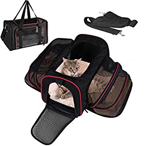 LOGROTATE Pet Carrier Bag, Airline Approved Portable Airplane Pet Dog Carrier Soft Double Sided Expandable Travel Carriers Bag for Dogs Cats Kittens Puppies & Small and Medium Animals