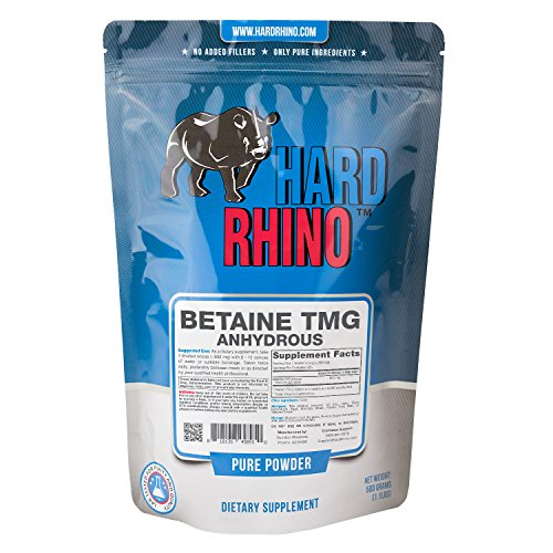 Hard Rhino Betaine Trimethylglycine (TMG) Powder, 500 Grams (1.1 Lbs), Unflavored, Lab-Tested, Scoop Included