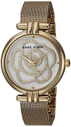 Anne Klein Women's AK/3102MPGB Swarovski Crystal Accented Gold-Tone Mesh Bracelet Watch