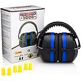 Ear Defense 3000 Plus Bonus Earplugs | Adjustable Hearing Protection Ear Muffs for Large Adults to Kids