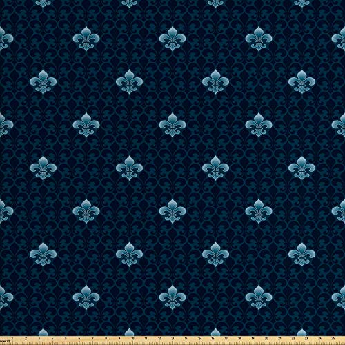 Fleur De Lis Upholstery - Lunarable Fleur De Lis Fabric by The Yard, Antique Pattern Royal Arms of France Symbolic Art Print, Decorative Fabric for Upholstery and Home Accents, 3 Yards, Petrol Blue Dark Blue
