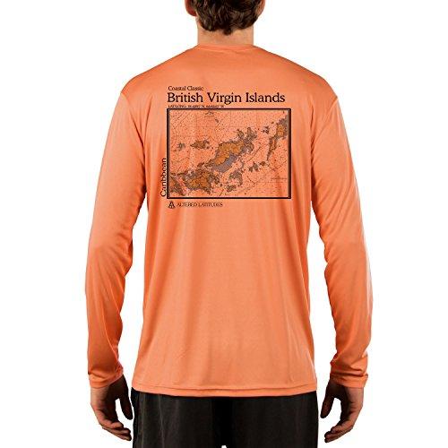 Altered Latitudes Coastal Classics British Virgin Islands Chart Men's UPF 50+ Long Sleeve T-Shirt XX-Large Citrus