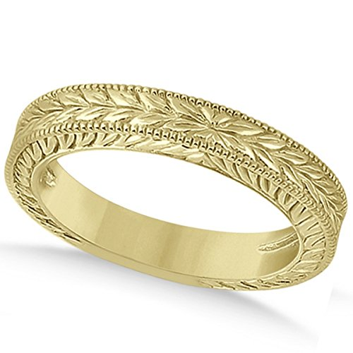 Vintage Style Carved Leaf Design Filigree Wedding Band with Milgrain Edges in 14k Yellow Gold 14k Yellow Gold Milgrain Edge