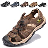 KIIU Closed Toe Sandals Athletic Sport Water Sandal for Men Outdoor Fisherman Sandal (12M Brown)