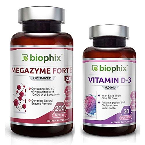 Biophix Megazyme Forte 200 Tabs - Free Vitamin D-3 5000 IU 30 softgels