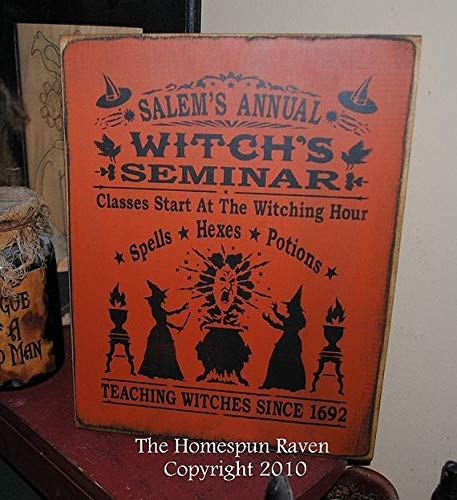 Salems Annual Witches Seminar Handpainted Wood Primitive Sign Wiccan Pagan Halloween Plaque 2010 9.5 x 12 inch