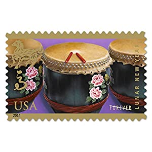 Year of the Horse: Drums (Celebrating Lunar New Year), Full Sheet of 12 x Forever Postage Stamps, USA 2014, Scott 4846