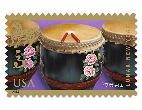 Year of the Horse: Drums (Celebrating Lunar New Year), Full Sheet of 12 x Forever Postage Stamps, USA 2014, Scott - 2014 Sunglasses