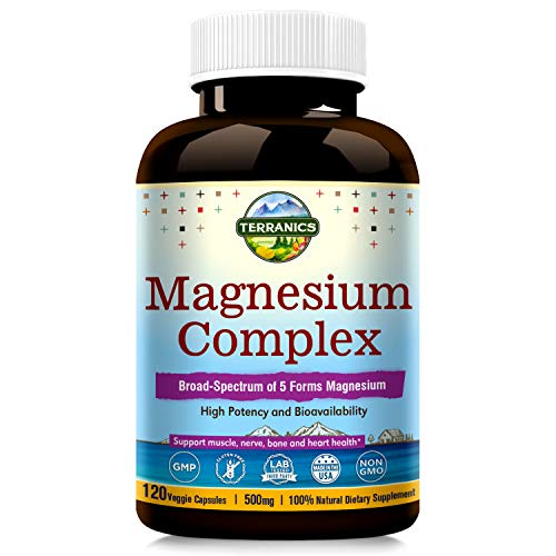 Terranics Magnesium Complex, Broad-Spectrum, 500mg, 120 Veggie Capsules, Chelated for Maximum Absorption, Support Sleep Stress and Anxiety Relief, Muscle Relaxation Recovery, NON-GMO, Soy, Dairy  Glu best to buy
