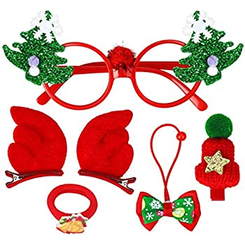 Christmas Gifts for Girls Stocking Stuffers– Glasses/Hair Ties/Reindeer Anlter Clips/Bows – Xmas Holiday Party Decorations Favors Supplies Accessories 6PCS
