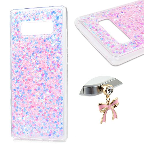 Galaxy Note 8 Case, Transparent Clear Pink Bling Glitter Soft Flexible TPU Frame Hard Glitter Back Protective Case Cover for Samsung Galaxy Note 8