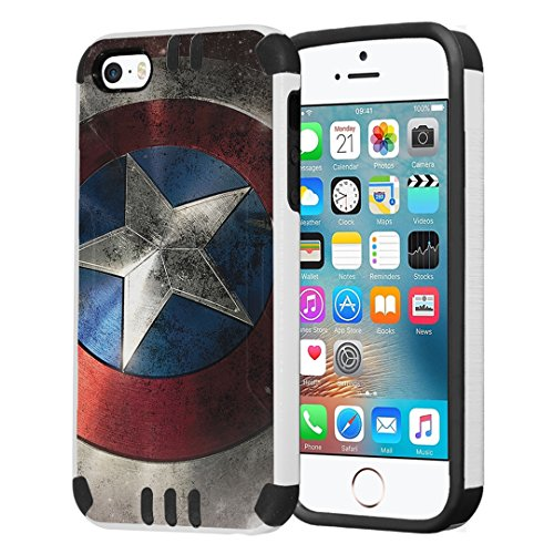 Capsule Case Compatible with iPhone 5, iPhone 5S, iPhone SE [Hybrid Dual Layer Slim Defender Armor Combat Case Black White] - (Rock Star) (Marvel Phone Iphone Case 5)