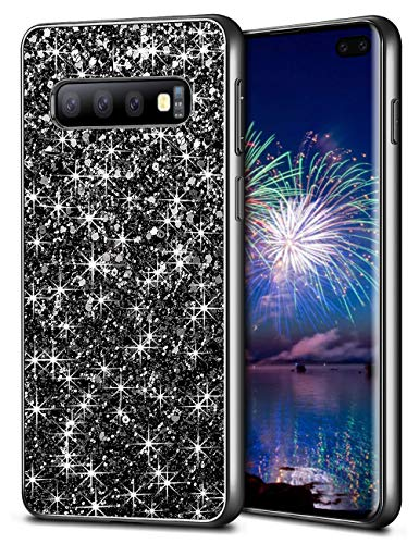Wollony Samsung Galaxy S10 Plus Case,Ultra Slim Galaxy S10 Plus Bling Shiny Glitter Case for Girl Hybrid TPU Shock-Absorption Bumper Sparkle Hard Back Cover for Galaxy S10+ 6.4