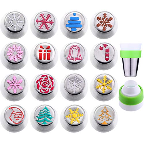 Gejoy 16 Pieces Russian Piping Tips Christmas Cake Icing Frosting Nozzle with Coupler for Cupcake Decoration, Christmas Design (Snow Christmas Cake For Icing)