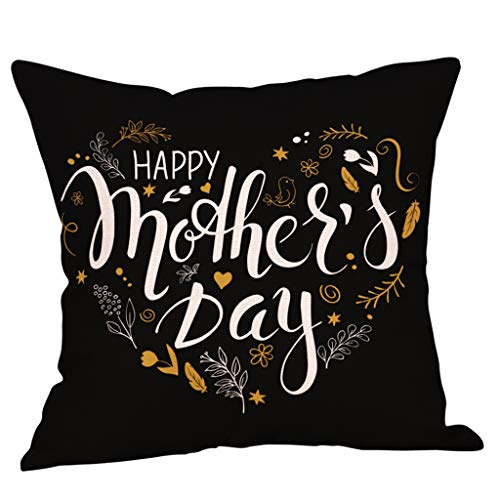 Saitingdianzi Happy Mother's Day Cotton Linen Home Decorative Throw Pillow Case Cushion Cover with Words for Sofa Couch 18 x 18 inch (B, 45 x 45cm) ()